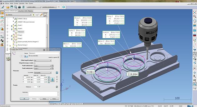 Kontrola techniczna. Przykładowy zrzut ekranu programu PowerInspect OMV dzięki uprzejmości firmy DELCAM Sp. z o.o.)
