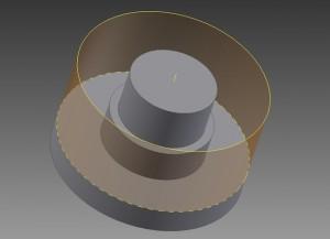 Ilustracja 1. Uproszczone przedstawienie bryłowe części wraz z opisaną bryłą (walec).