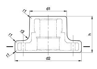 Ilustracja 2. Odkuwka - Wymiary uwzględniane przy obliczaniu najmniejszej grubości ścianek g.