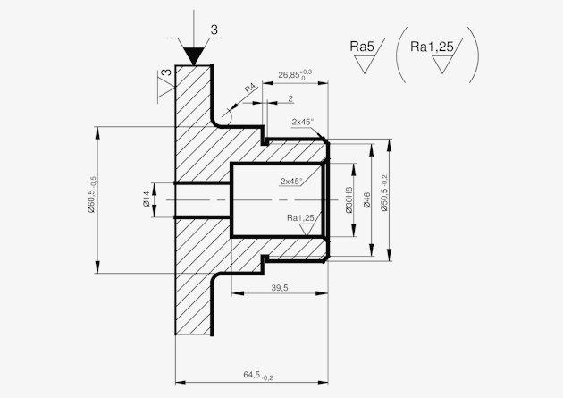 Ilustracja 1. Proces technologiczny tulei - operacja 10 (pierwsza). Produkcja seryjna z wykorzystaniem obrabiarek konwencjonalnych.