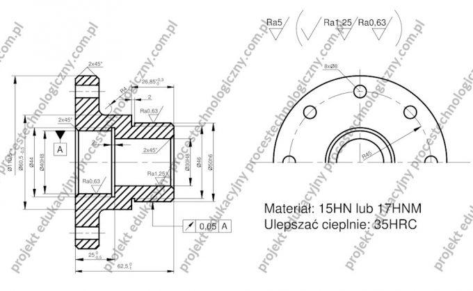 Proces technologiczny tulei - rysunek konstrukcyjny części klasy tuleja.