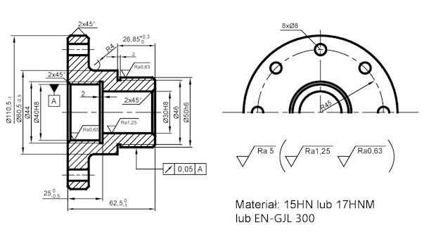 Proces technologiczny tulei - rysunek konstrukcyjny części klasy tuleja - obróbka otworów