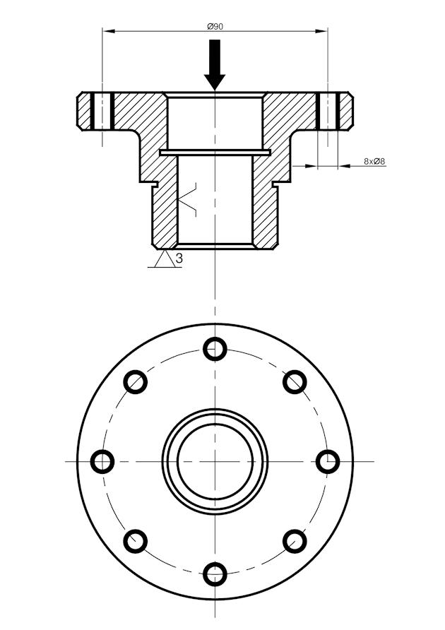 wiercenie - Ilustracja 1. Proces technologiczny tulei - operacja 30.