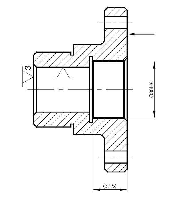 Ilustracja 1. Proces technologiczny tulei - operacja 40 - wytaczanie.