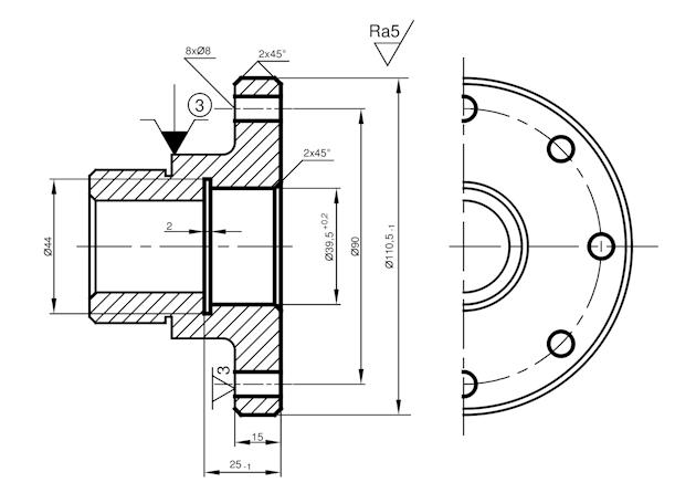Ilustracja 1. Proces technologiczny tulei - operacja 20 - obrabiarki CNC - tokarskie centrum obróbkowe CNC