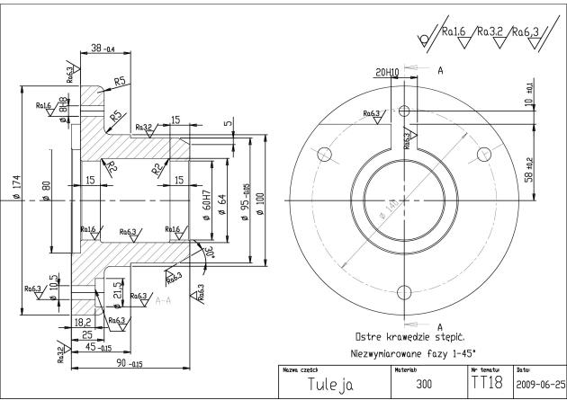półfabrykat - przykładowy dydatkyczny projekt tulei