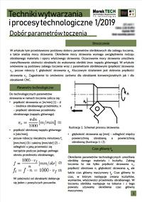 Techniki Wytwarzania i Procesy Technologiczne Nr 1/2019 - Dobór parametrów toczenia
