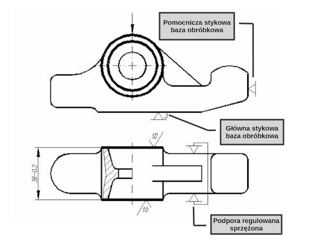 dźwignia - lever - proces technologiczny - technological process - powierzchnie czołowe - side face