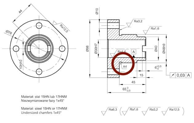 podcięcia obróbkowe - technologiczne - tuleja