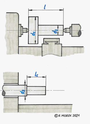 lathe - conventional - characteristic sizes