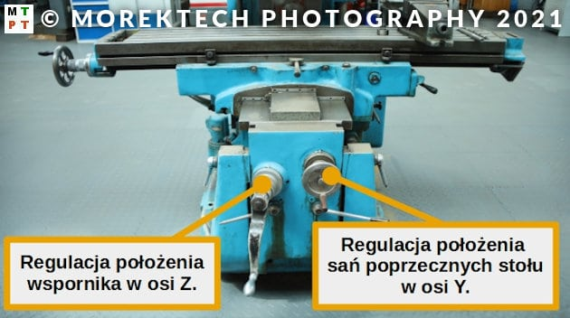 frezarka konwencjonalna wspornikowa pionowa - sterowanie wspornikiem i saniami poprzecznymi